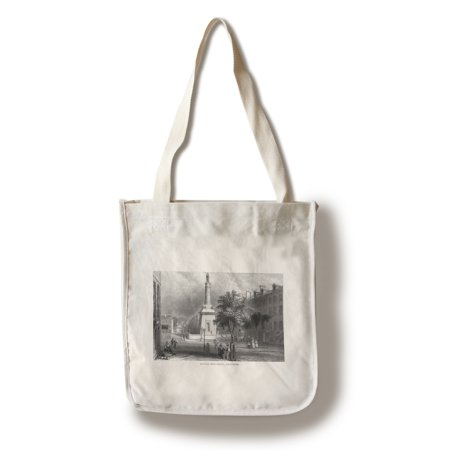 Baltimore  Maryland   Street View Of The Battle Monument  100  Cotton Tote Bag   Reusable
