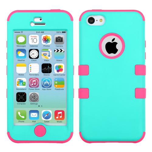 Apple iPhone 5C MyBat TUFF Hybrid Protector Case, Rubberized Teal Green/Electric Pink