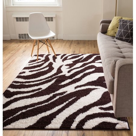 Modern Animal Print 3x5 (3\'3\'\' x 5\'3\'\') Area Rug Shag Zebra Brown Ivory  Plush Easy Care Thick Soft Plush Living Room