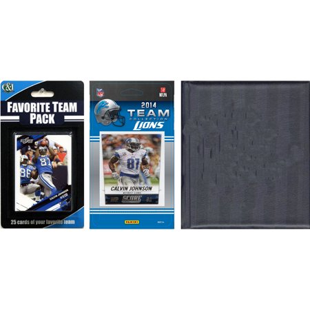 C&I Collectables NFL Detroit Lions Licensed 2014 Score Team Set and Favorite Player Trading Card Pack Plus Storage Album
