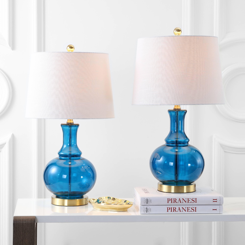 "Lavelle 25"" Glass LED Table Lamp, Cobalt Blue/Brass Gold ..."