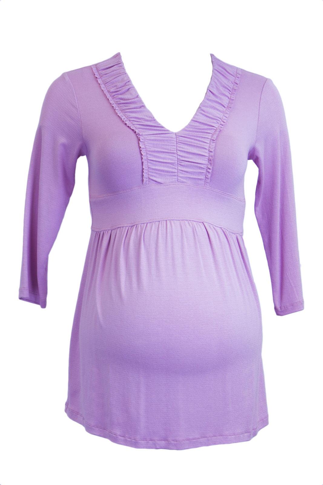 OLIAN Maternity Women's 3/4 Sleeve Empire Waist V-Neck Top X-Small Taffy