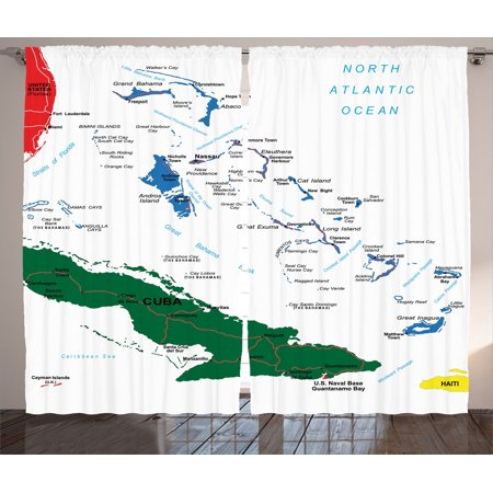 Wanderlust Decor Curtains 2 Panels Set Bahamas Map Beach