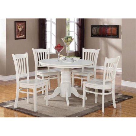 East West Furniture SHGR5-WHI-W 5 Piece Shelton Round Table and 4 Groton Chairs ()