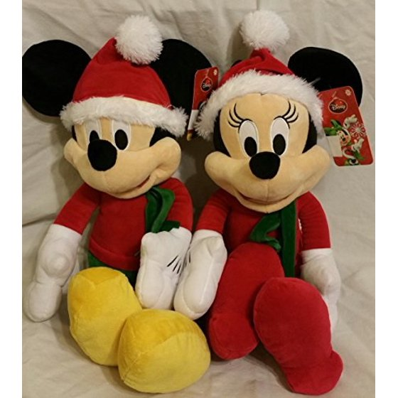 Christmas Minnie Mouse Plush.Christmas Mickey And Minnie Mouse 16 Plush Walmart Com