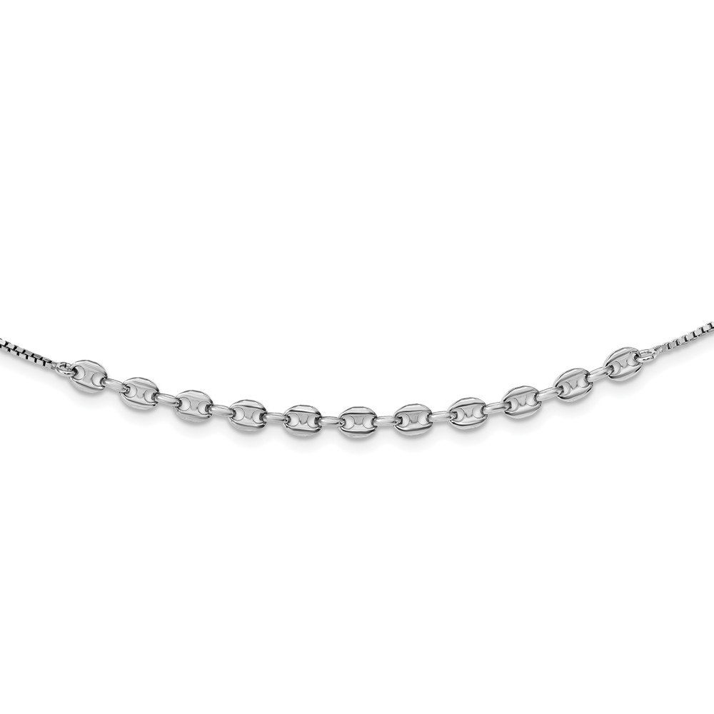 Sterling Silver 18in Rhodium-plated Fancy Link with 1in ext. Necklace