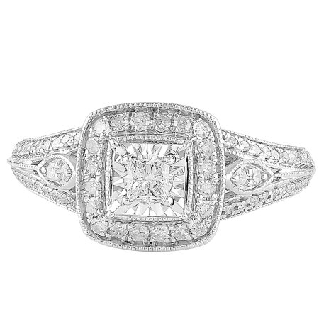 1/2 cttw Art Deco Cushion Halo Diamond Engagement Ring in 10K White Gold (I-J, I2-I3) Signature Deco Diamond