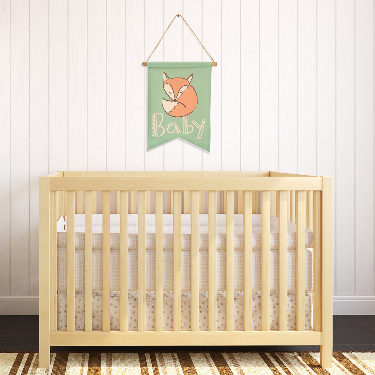 Tag Sleepy Baby Fox Scroll Wall Banner Cute Nursery Room Decor Next To Crib