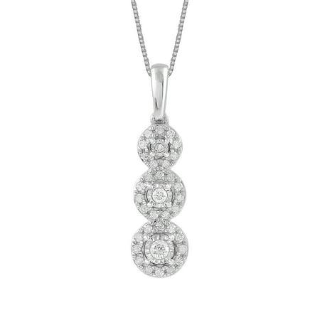 Sterling Silver 1/4 CTTW Diamond 3 Circle Pendant