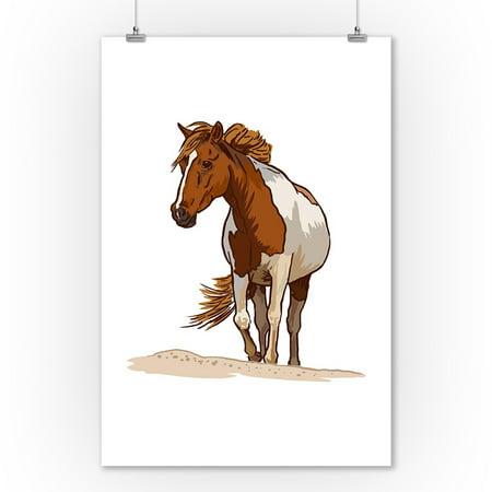 - Wild Horse - Icon - Lantern Press Artwork (9x12 Art Print, Wall Decor Travel Poster)