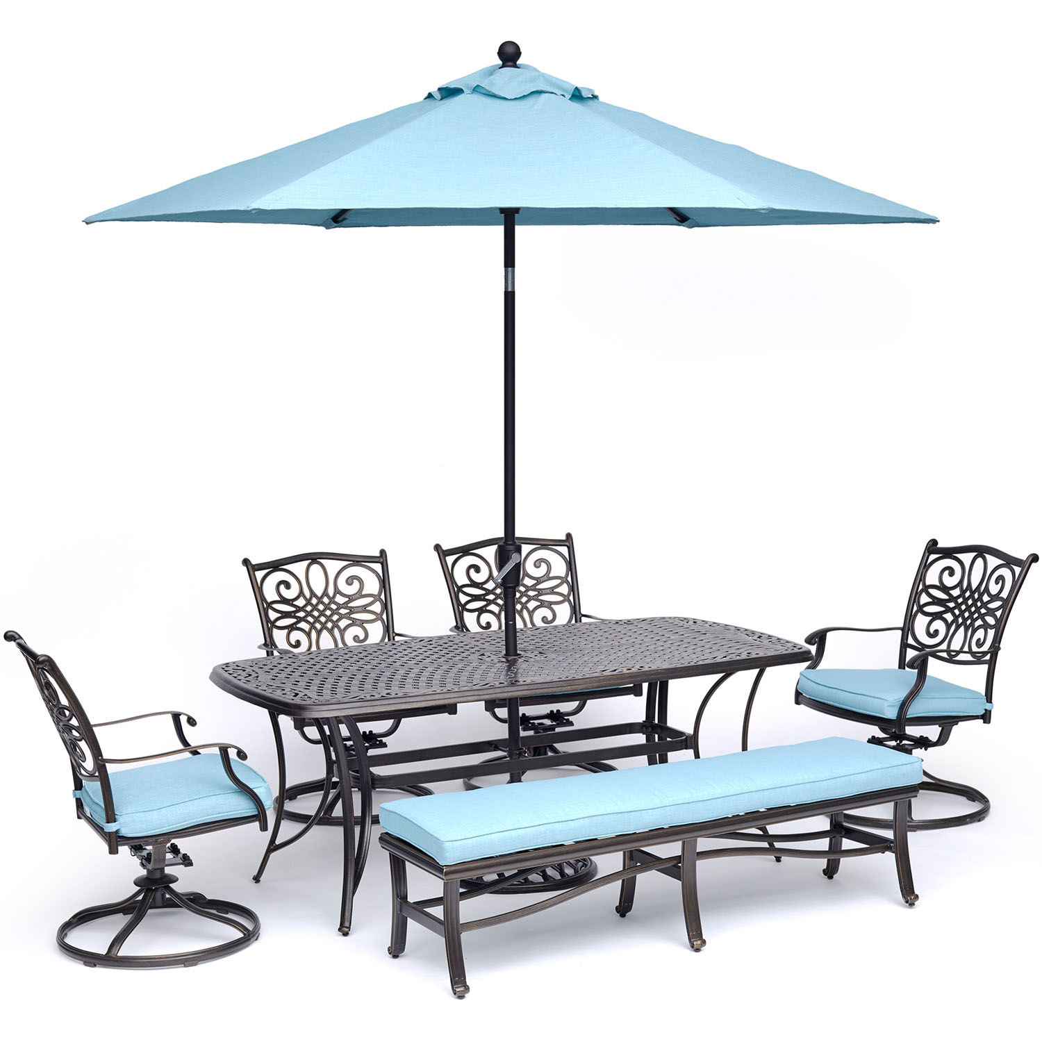 Hanover Traditions 6-Piece Outdoor Dining Set with Cast-Top Table, 4 Swivel Rockers, 1 Bench, 9-Ft. Table Umbrella and Stand