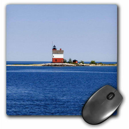 3dRose USA Michigan, Macinaw City, Round Island Lighthouse - US23 PHA0003 - Peter Hawkins, Mouse Pad, 8 by 8 inches