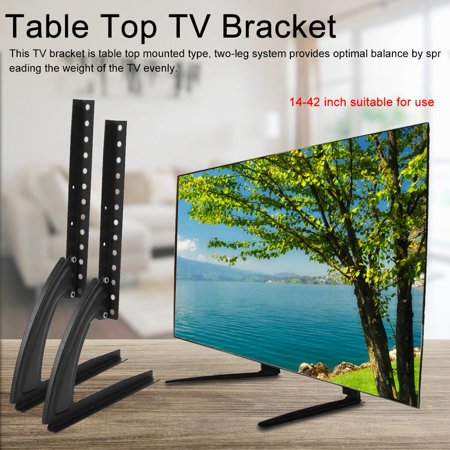Table TV Stand,Ymiko Black Metal Steel Bracket for Flat LED LCD Screen TV Desktop Table Top Mount Stand Holder, Desktop TV Stand
