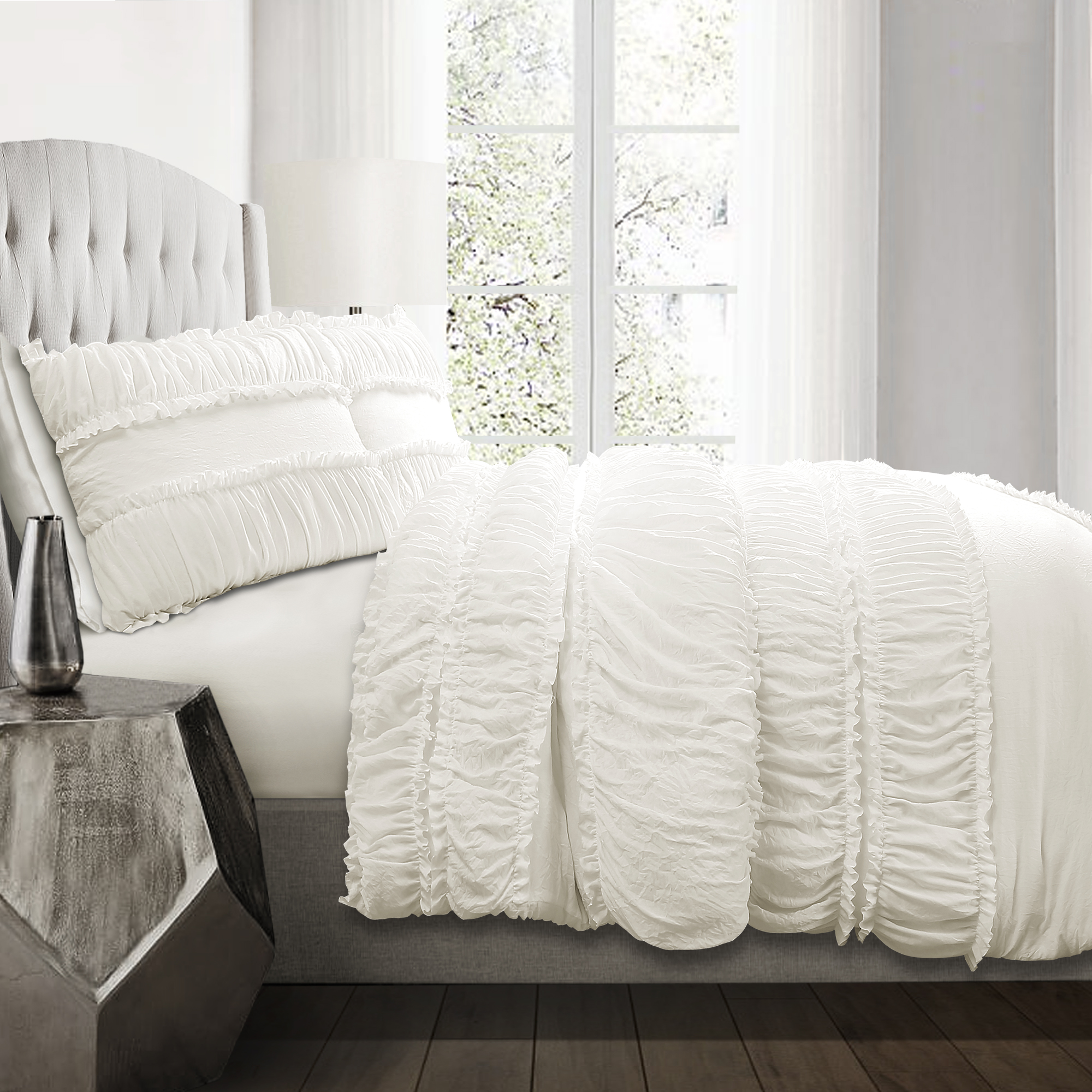 Nova Ruffle Comforter White 3Pc Set King
