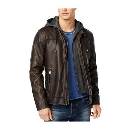 I-N-C Mens Faux-Leather Motorcycle Jacket cognac L - image 1 de 1