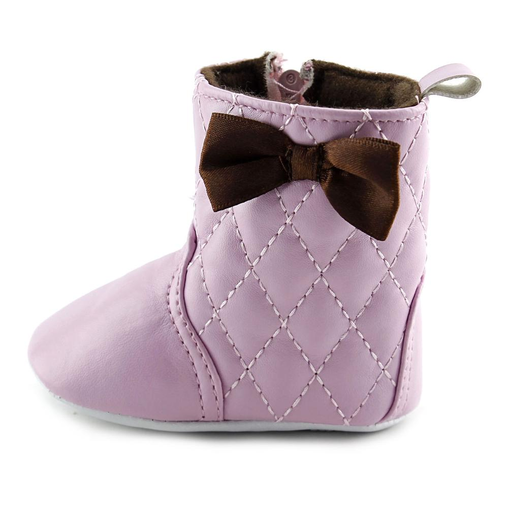 Luvable Friends Girl's Quilted Zip Boot (Infant), Pink, 0-6 Months M US Infant