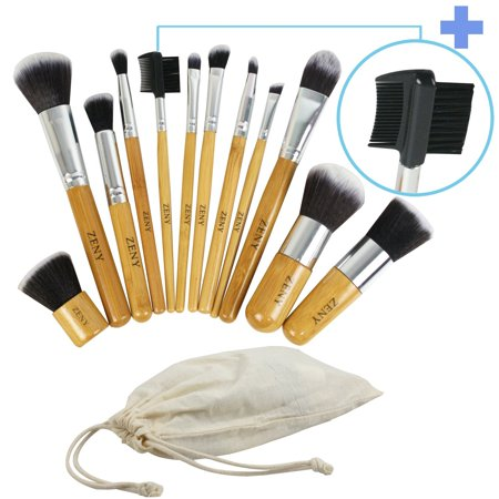Zeny® 11+1 Piece Makeup Brush Set, 12 Pcs Professional Bamboo Handle Foundation Blending Blush Eye Face Liquid Powder Cream Cosmetics
