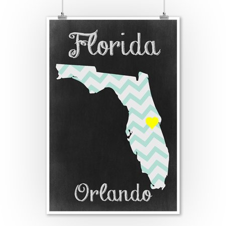 Orlando, Florida - Chalkboard State Heart - Lantern Press Poster (9x12 Art Print, Wall Decor Travel (The Florida Mall Orlando Florida)