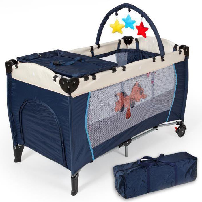 Portable Baby Crib Playpen Playard Pack Travel Infant Bassinet Bed Foldable Blue