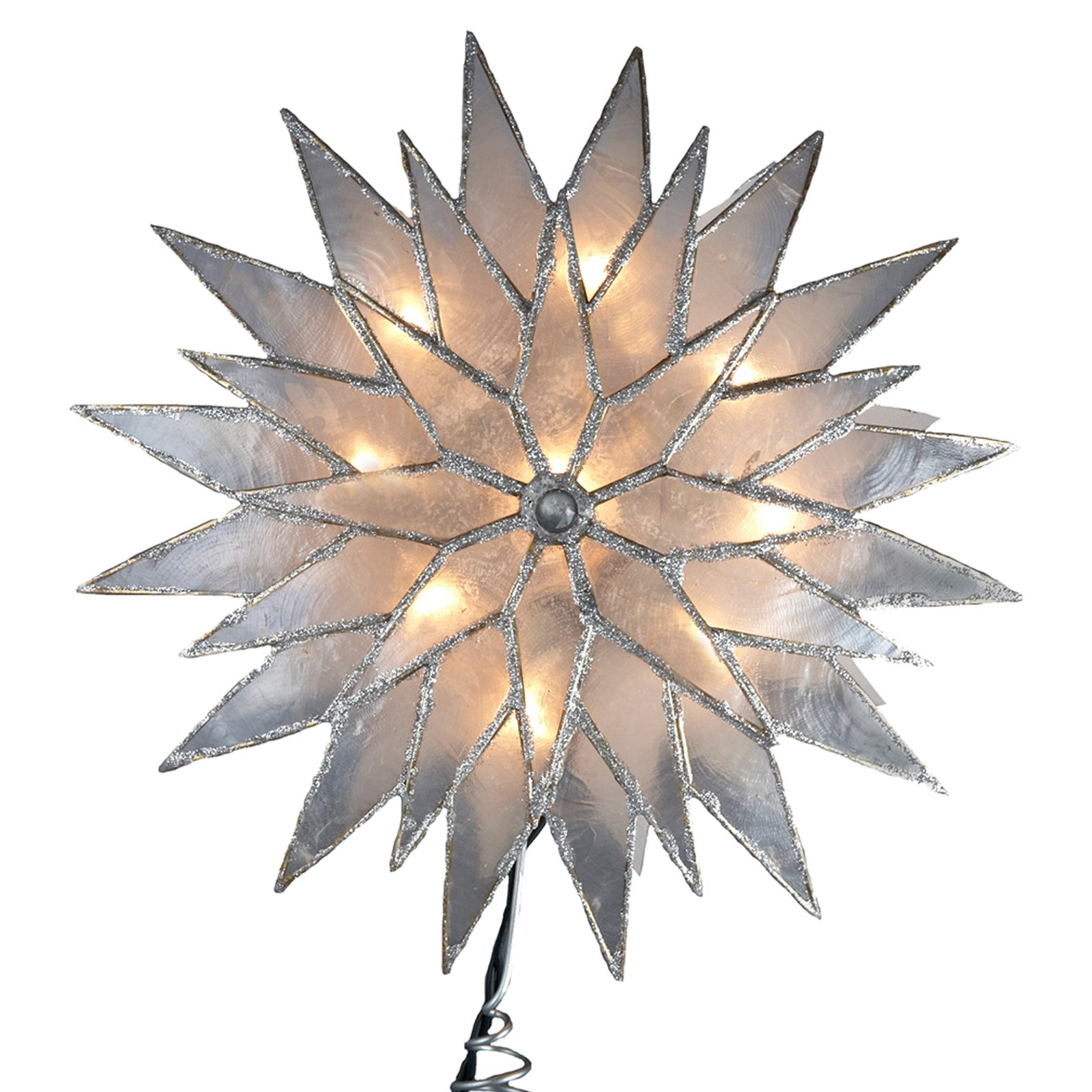 Kurt Adler 9 in. Silver Sunburst Capiz Lighted Tree Topper