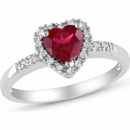 Cartier Ruby Ring (1 Carat T.G.W. Created Ruby and 1/10 Carat T.W. Diamond Sterling Silver Heart Ring)