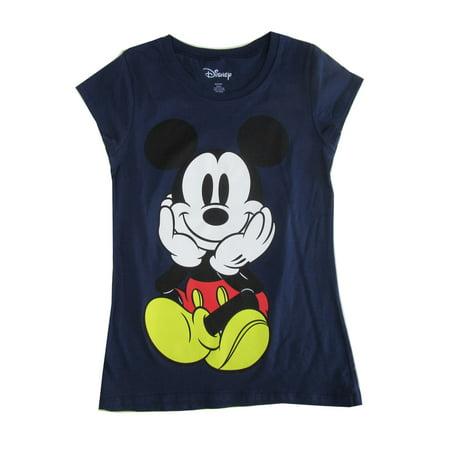 1d2e17b0 Disney - Disney Women's Navy Blue Mickey Mouse Print Short Sleeve Trendy T- Shirt - Walmart.com