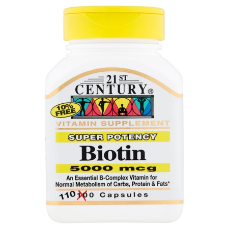 21st Century Super Potency Biotin Capsules, 5000 mcg, 110