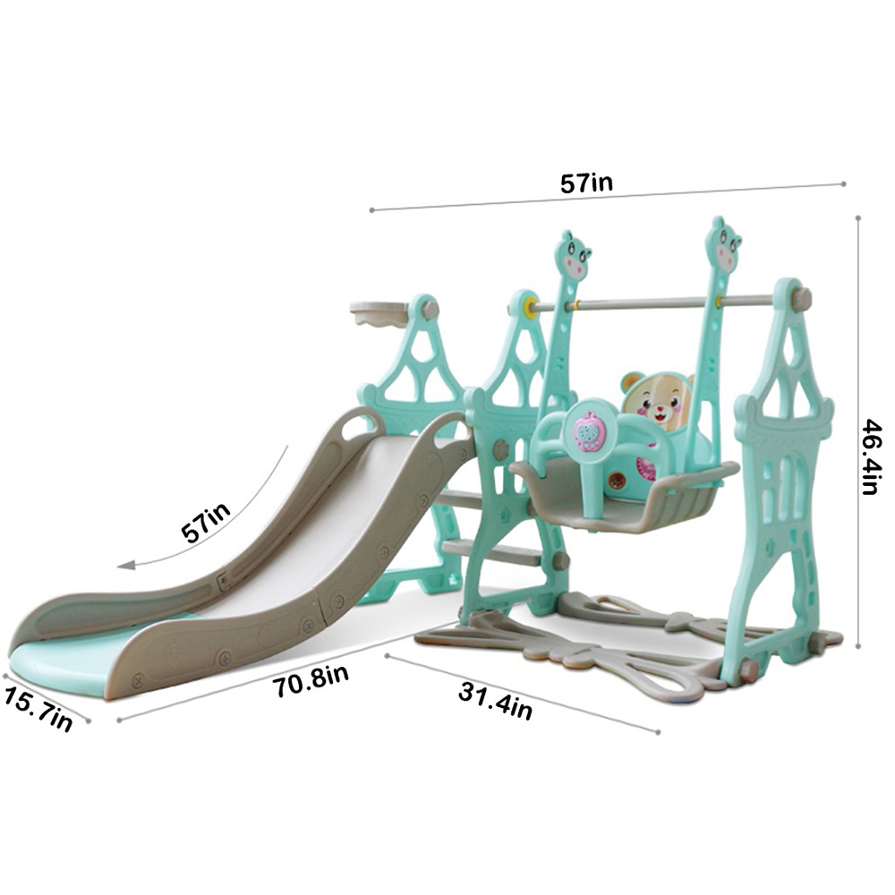 Easy Climb Stairs Blue Toddler Climber and Swing Set 4 in 1 Climber Sliding Playset with Basketball Hoop Kids Playset for 3-9 Years Old Child use Indoor and Backyard