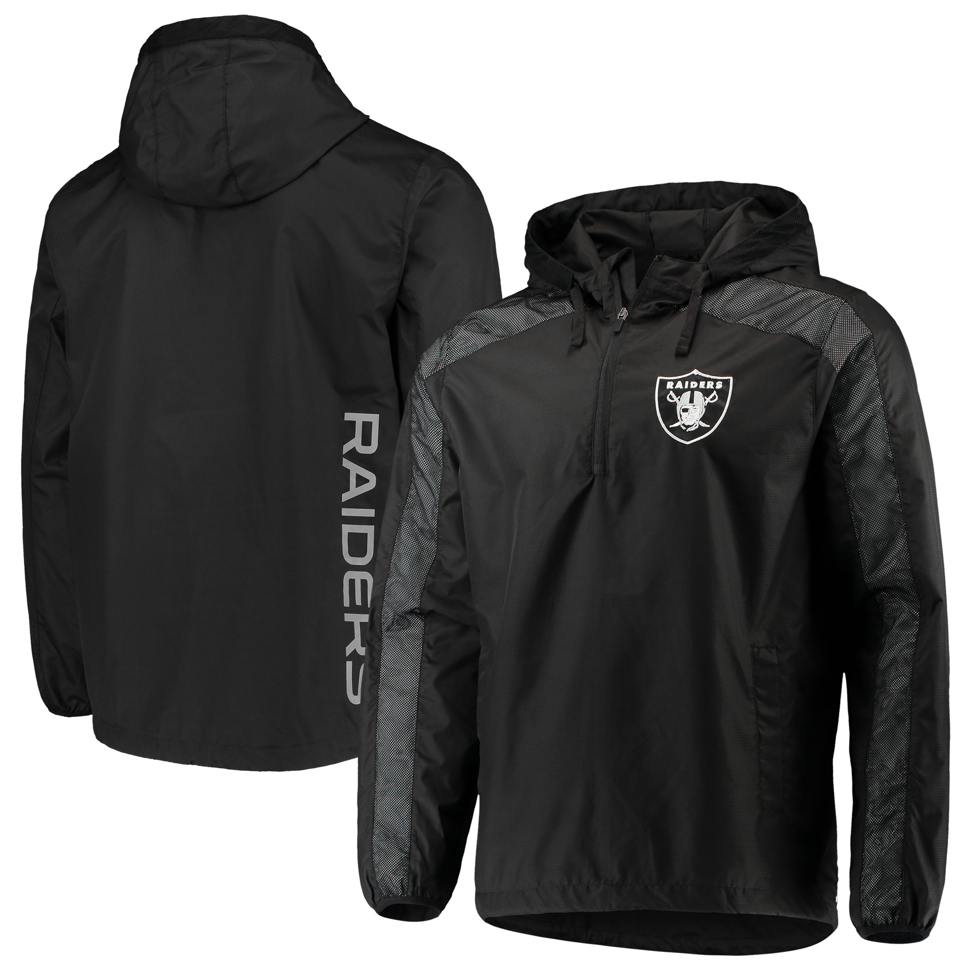 Oakland Raiders G-III Sports by Carl Banks Lineup Hooded Half-Zip Jacket - Black