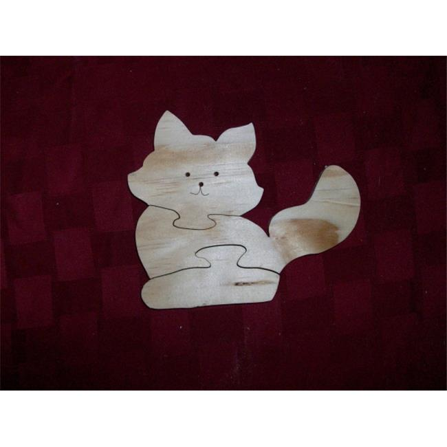 Fine Crafts 231ANI Wooden cat shaped jigsaw puzzle