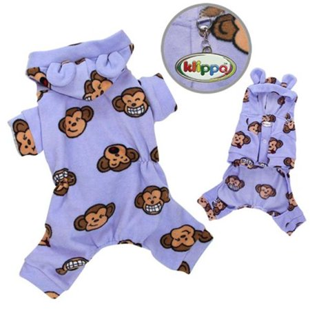 Klippo Pet KBD024XL Adorable Silly Monkey Fleece Dog Pajamas & Bodysuit With Hood, Lavender - Extra Large