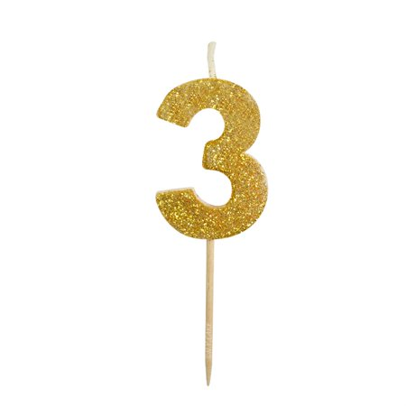 Gold Glitter Number 3 Candle 1 3 / 4