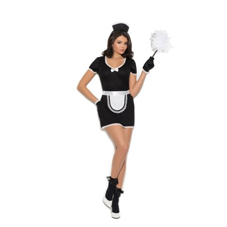 Flirty Maid - 4 pc costume includes mini dress, apron, head piece and gloves - Color - Black - Size - M