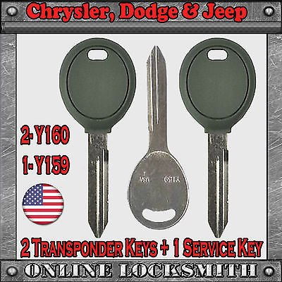 2 New Dodge Replaceme Keys Y160 Transponder Chip Key + Free Service Key -