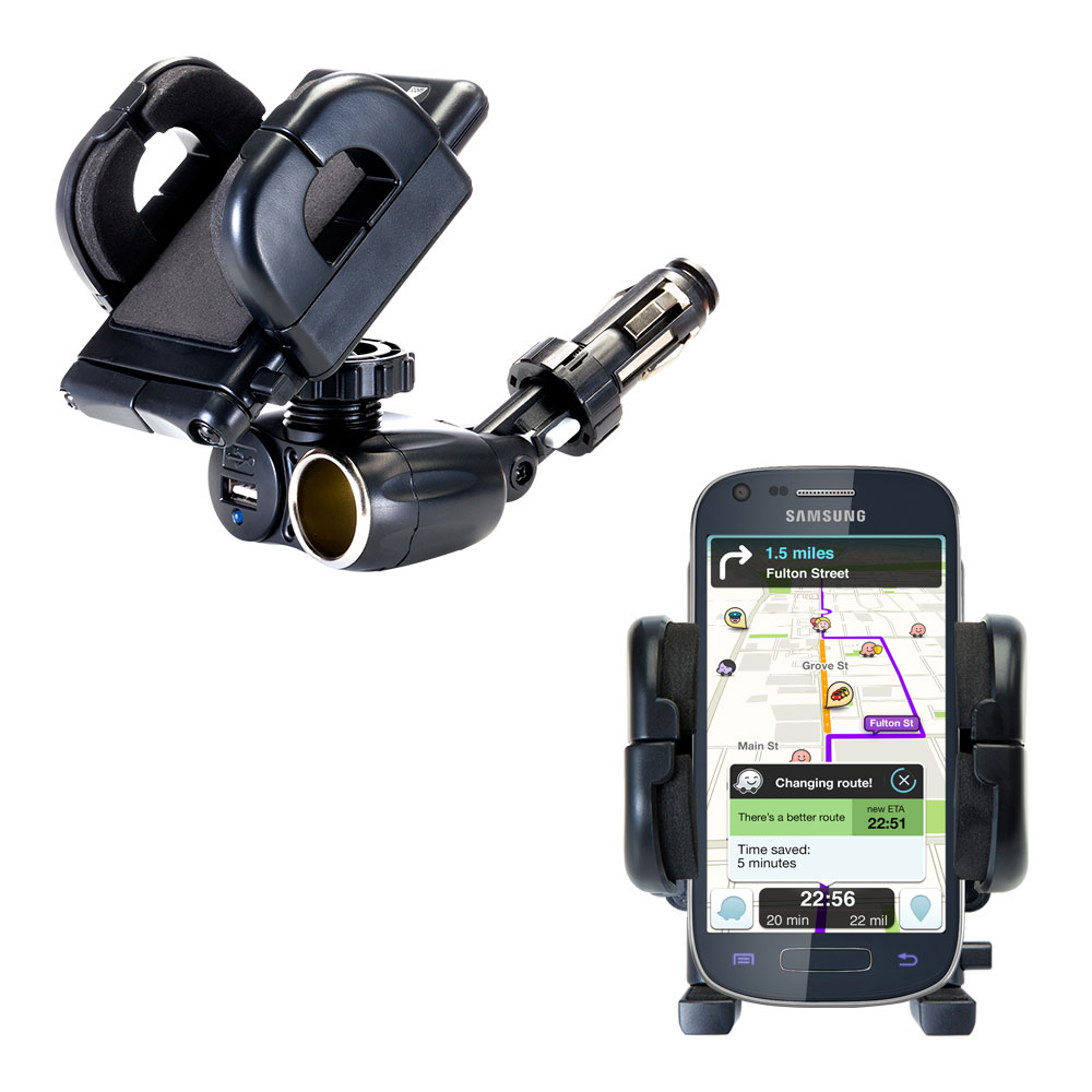 Dual USB / 12V Charger Car Cigarette Lighter Mount and Holder for the Samsung Galaxy Ring