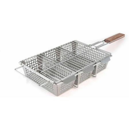 The Charcoal Companion Stainless Steel 3-Compartment Grilling Basket, - Hand Grille