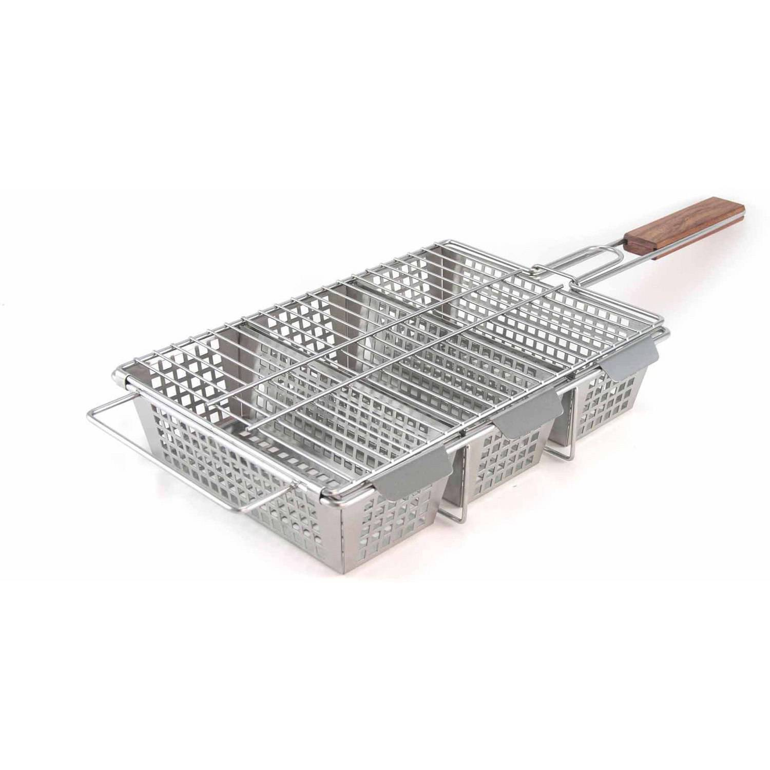 The Charcoal Companion Stainless Steel 3-Compartment Grilling Basket, CC3129