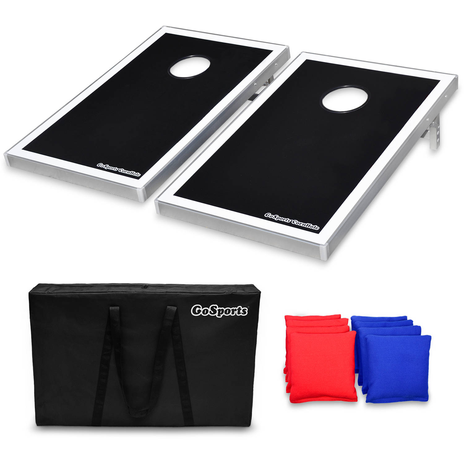 GoSports Foldable Cornhole Boards Bean Bag Toss Game Set, Superior Aluminum Frame, Black Design w/ 8 Bean Bags and Portable Carrying Case