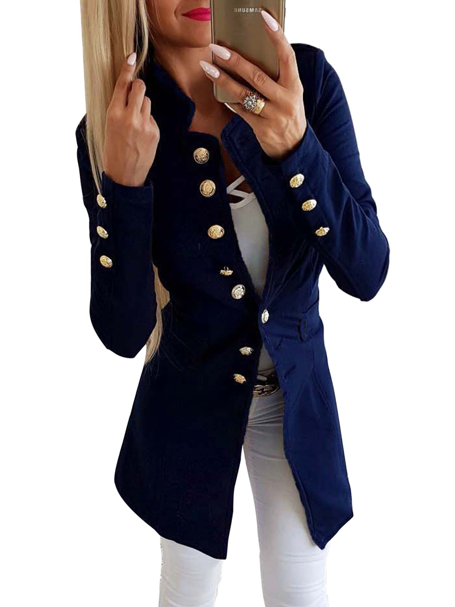 Women/'s Long Jacket Overcoat Outwear Slim Double Breasted Blazer Suit Coat Tops
