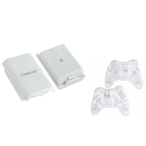 Insten Clear Crystal Case+White Battery Pack Shell For Xbox 360 Wireless Controller
