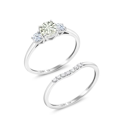 10K White Gold Lab Grown Diamond Ring Forever Classic KLM Created (22k Ladies Ring)