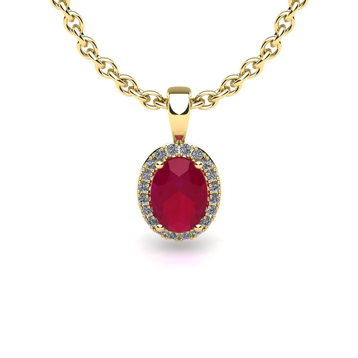 1 Carat Oval Shape Ruby and Halo Diamond Necklace In 10 Karat Yellow Gold With 18 Inch Chain by SuperJeweler