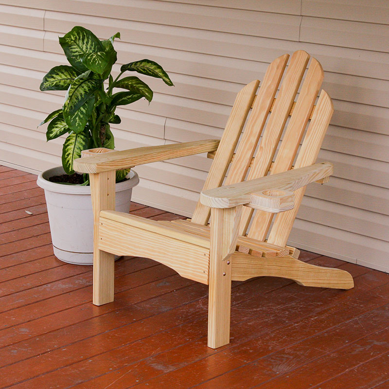Charmant Amish Heavy Duty 800 Lb Pressure Treated Adirondack Chair With Cupholders ( Unfinished)