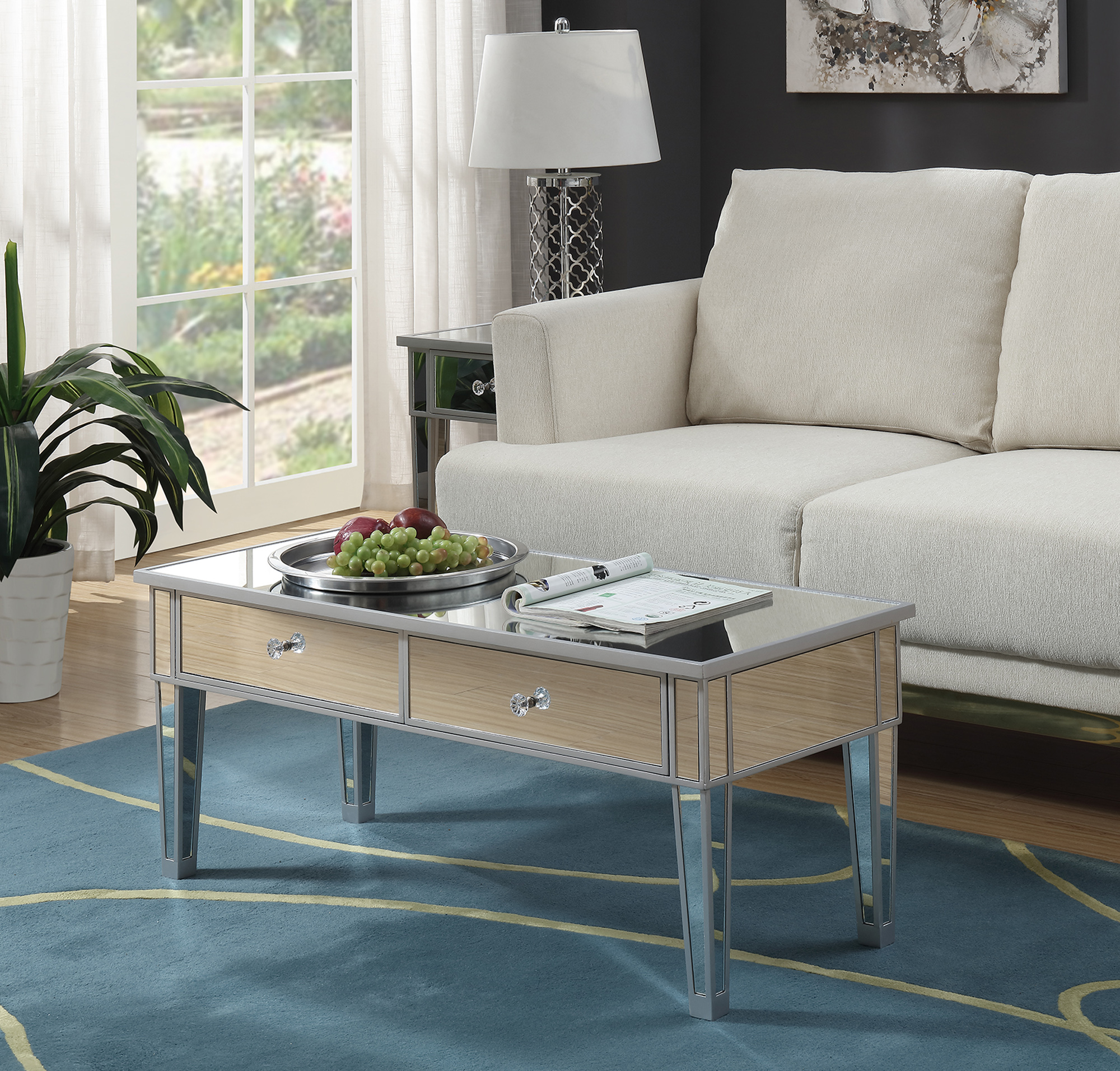 Convenience Concepts Gold Coast Mirror Coffee Table With Two Drawers Walmart Com Walmart Com
