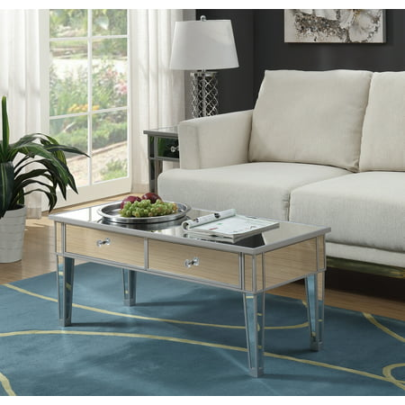 Convenience Concepts Gold Coast Mirror Coffee Table with Two Drawers ()