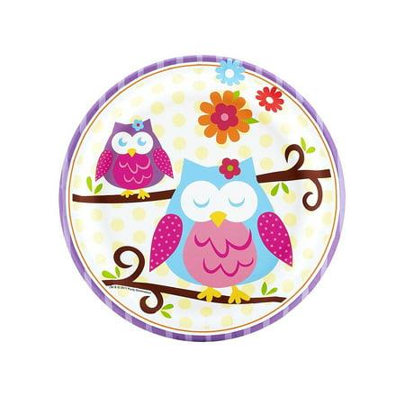 - Brand New  Owl Blossom Party Supplies - Dessert Plates (8), High-quality