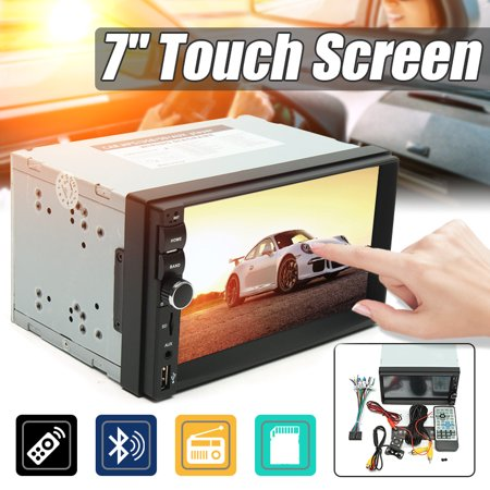 SunseaGrocery 7018B 7 inch 1080P bluetooth LCD Touch Screen 2 DIN Car Radio  Stereo AUX FM USB SD MP5 Player with Rearview Camera + Remote Controller +