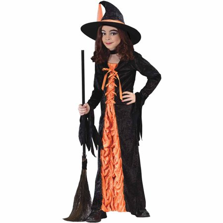 Orange Witch Mystic Child Halloween Costume - Corset Witch Costume