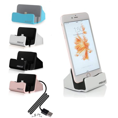 Agoz Desktop Charging Charger Dock Station Cradle Stand Holder Apple iPhone 11, 11 Pro, 11 Pro Max, XS Max, XS, XR, X, 8 Plus, 8, 7, 7 Plus, 6, 6 Plus, 6S, 6S Plus, 5S, iPad Mini 2, 3, 4, iPod Touch ()