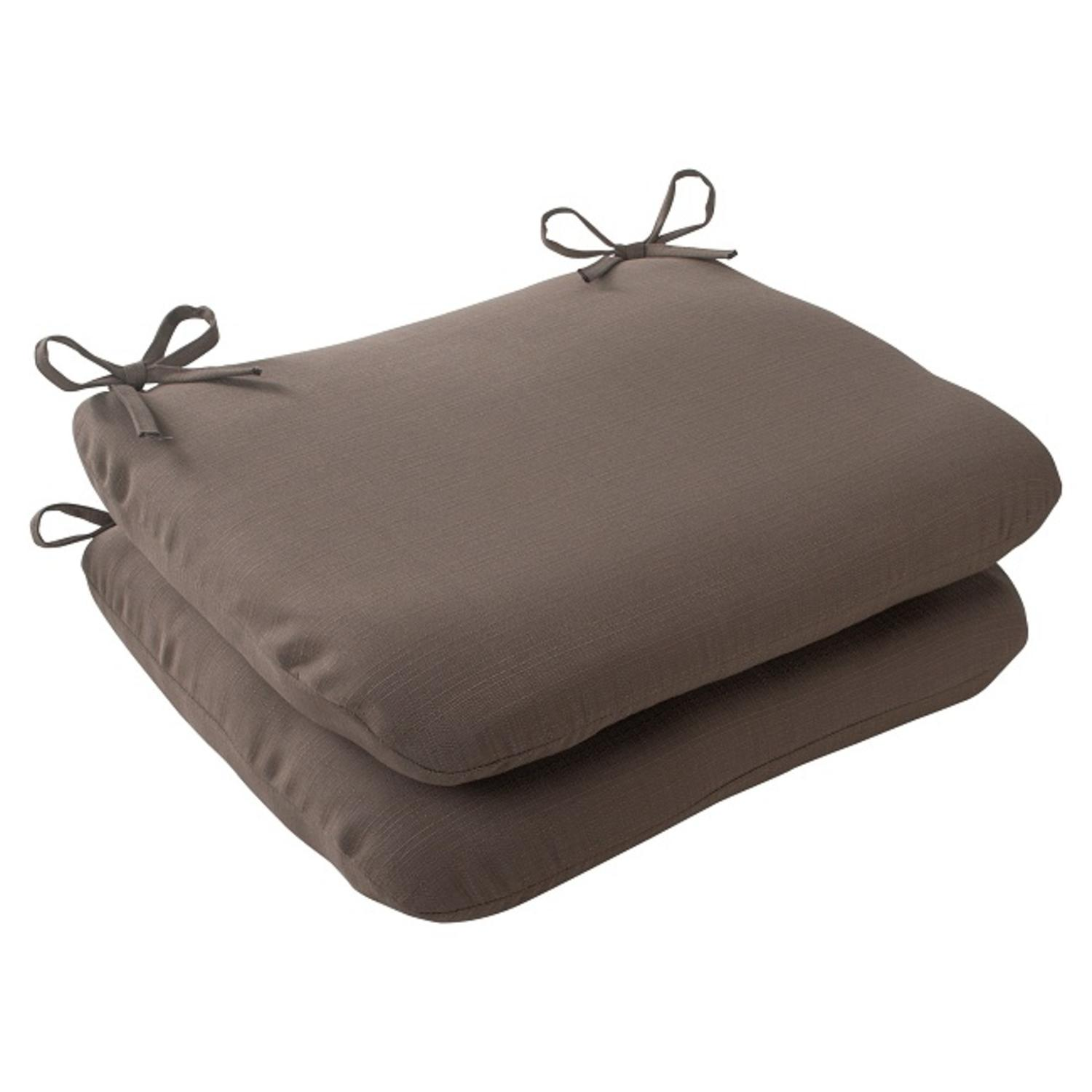 """Set of 2 Light Brown Solarium Outdoor Patio Rounded Seat Cushions 18.5"""""""